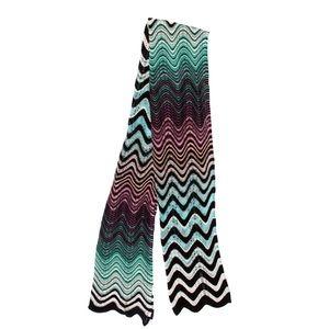 Missoni Scarf Zig Chevron Knit Cotton Blue Green